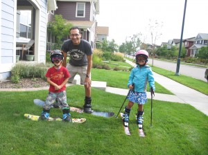 Dr. W and his kids gearing up for the snow.